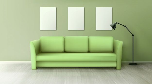 Interior with green sofa, lamp and blank white posters