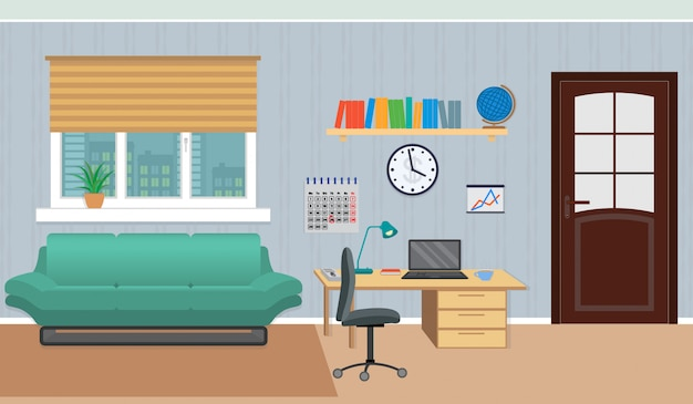 Interior of work cabinet at home including rest zone and work place.