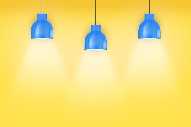 Interior of yellow wall with blue vintage pedant lamps.