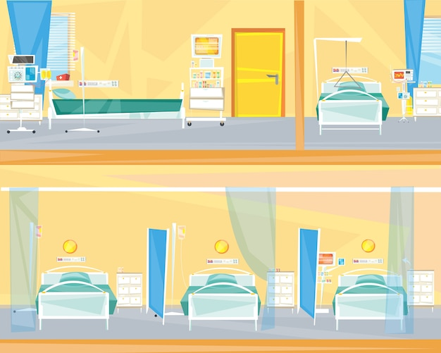 病院の部屋の内部。