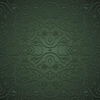 Переплетение цветочных узоров в восточном стиле, арабески на зеленом