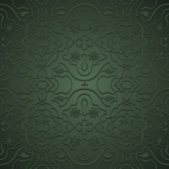 Interlacing flowery patterns in oriental style, arabesque on green