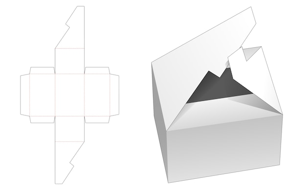Interlock flip box die cut template