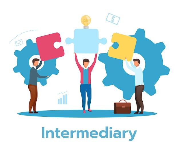 Intermediary flat illustration. social enterprise. wholesaler, distributor, reseller. e-commerce. business model. isolated cartoon character on white background