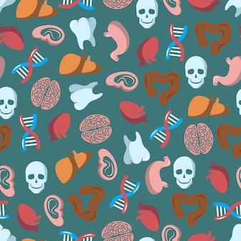 Internal human organs seamless pattern