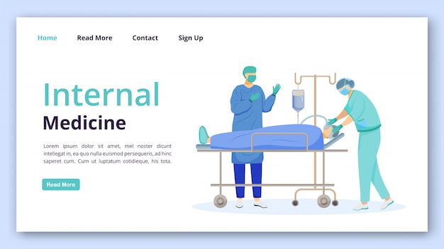 内科ランディングページベクトルテンプレート。フラットのイラストが外科のウェブサイトインターフェイスのアイデア。外科クリニックのホームページのレイアウト。医学とヘルスケア