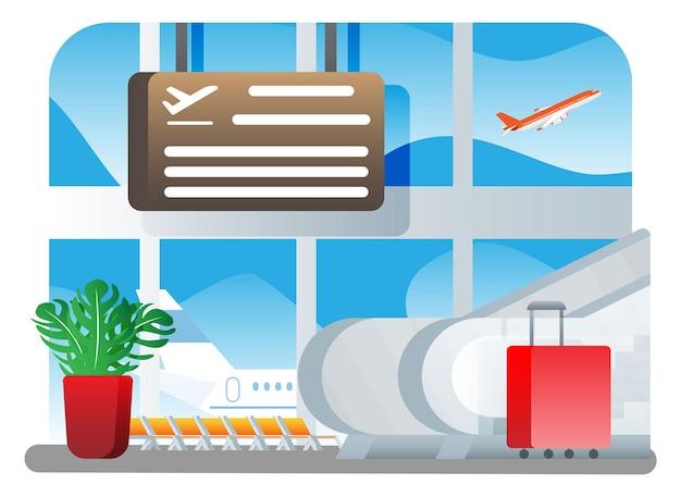 국제 공항 개념입니다. 에스컬레이터 근처에 있는 현대적인 여행 가방과 식물. 이륙 전 비행기. 미니멀한 디자인의 터미널 빌딩 내부. 평면 스타일 벡터