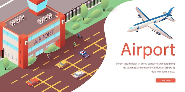International airport terminal landing web page.