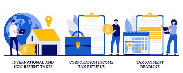 Международные налоги и налоги нерезидентов, декларация о доходах корпораций, концепция срока оплаты с крошечными людьми. набор абстрактных иллюстраций налогового планирования и подготовки. возврат ндс, финансовый год.