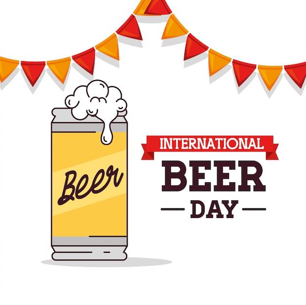 Международный день пива, август, банка пива с висящими гирляндами