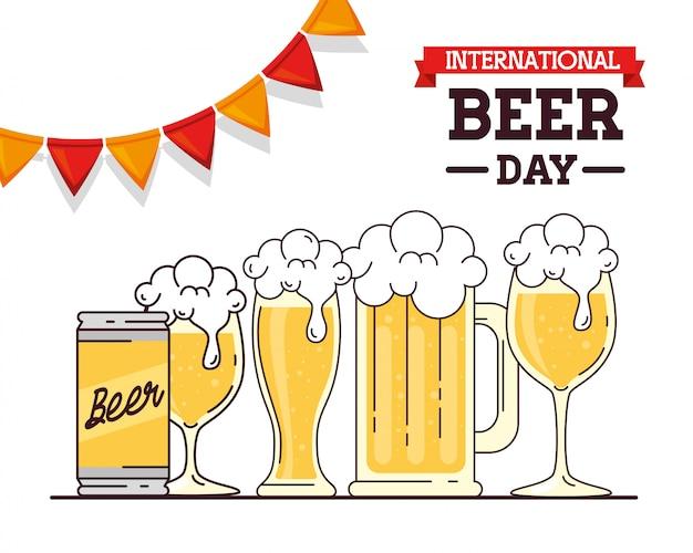 Международный день пива, августа, пиво и гирлянды висят украшения