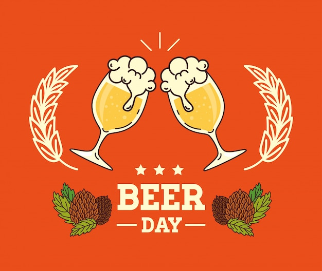 Международный день пива, август, пиво и семена хмеля