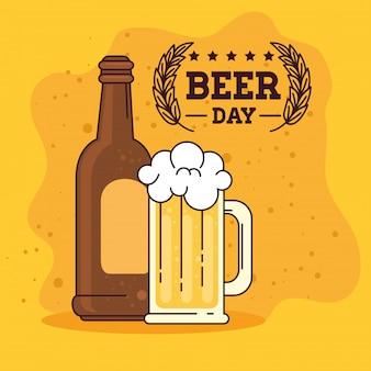 Международный день пива, август, бутылка и кружка пива