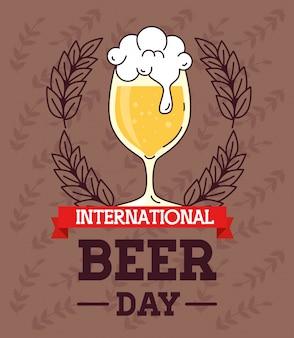 Международный день пива, август, бокал пива с лентой и международная этикетка в ленте