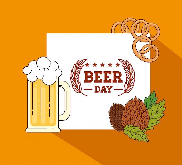 Международный день пива, август, кружка в пиве с семенами хмеля