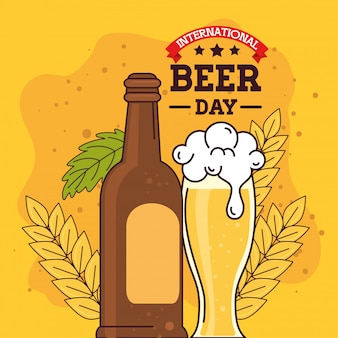 Международный день пива, август, с бутылкой и бокалом пива