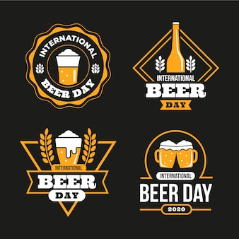 International beer day badges in flat design