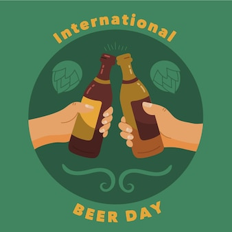 国際ビール日手描きデザイン