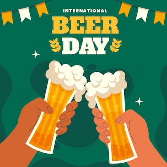 International beer day illustration Premium Vector