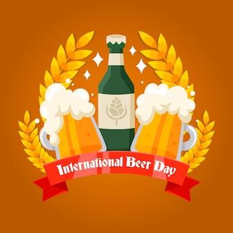 Международный день пива в плоском дизайне