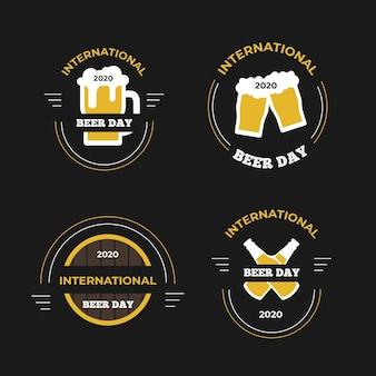 国際ビールの日ラベルフラットデザイン