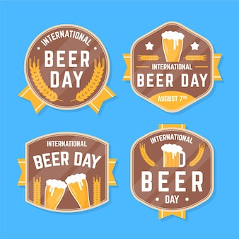 International beer day labels in flat design