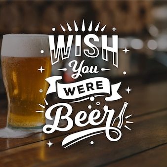 International beer day lettering with photo