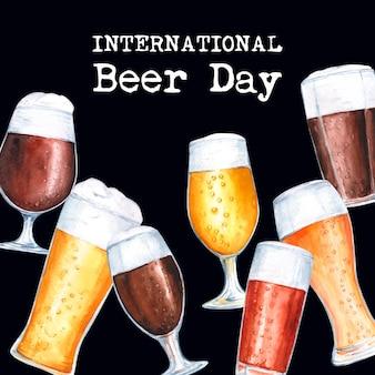 国際ビールの日水彩デザイン