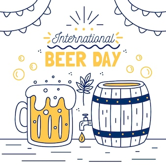 International beer day with barrel