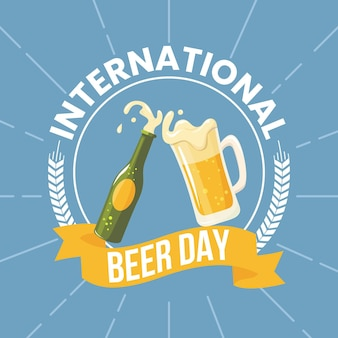 International beer day with beer and bottle