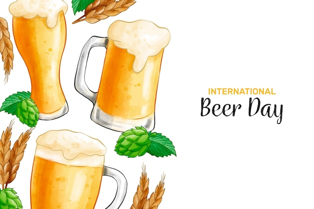 Международный день пива с бокалом пива и пинтой