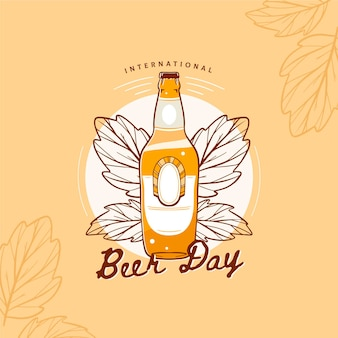 International beer day with bottle and leaves