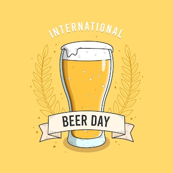 International beer day with glass and foam