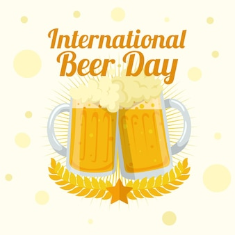 International beer day with mugs
