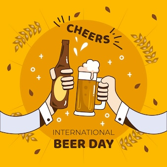 International beer day with people holding pint and bottle