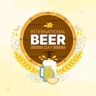 Giornata internazionale della birra con pinta e botte