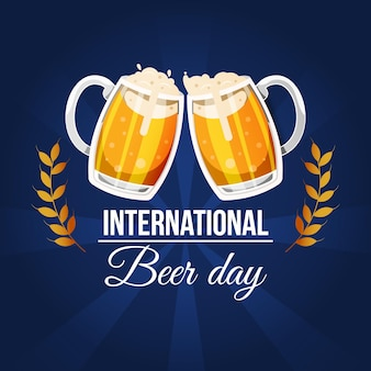 Международный день пива с пинтами и пеной