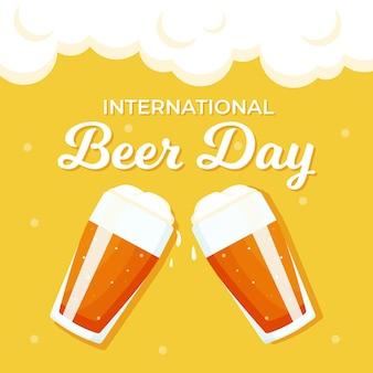 Международный день пива с двумя бокалами