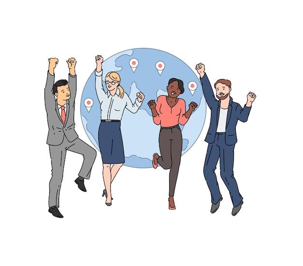 비즈니스 사람들이 만화 캐릭터, 스케치 스타일의 일러스트와 함께 국제 비즈니스 및 글로벌 파트너십 개념
