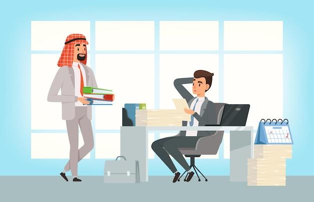 국제 비즈니스 파트너. 아랍 사업가 및 관리자가 마감일을 지키고 사무실에서 새로운 작업을 수행
