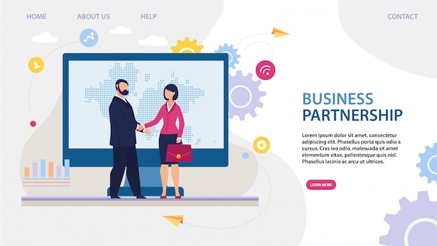 International business partnership landing page