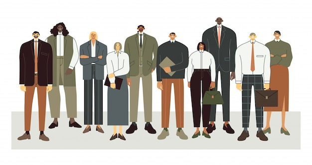 International business team. business office workers stand together, professional employees crowd and corporate people illustration. clerk characters in office suits collective portrait