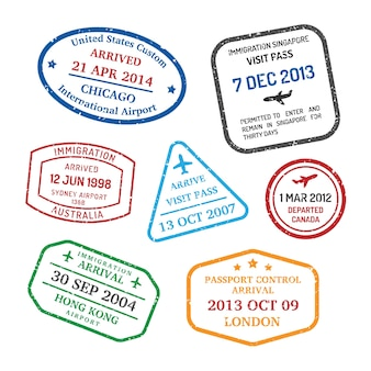 International business travel stamps set