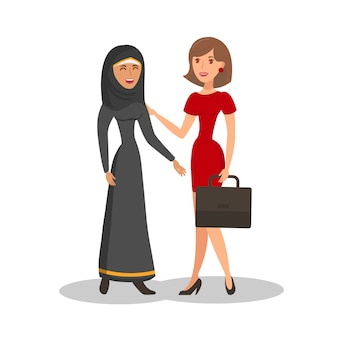 International businesswomen color illustration
