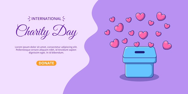 International charity day banner with box of hearts cartoon illustration.