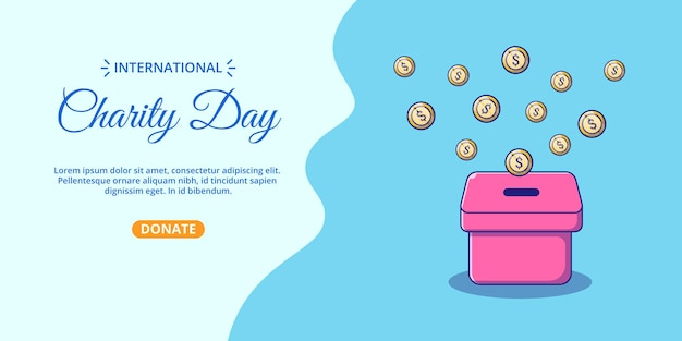 International charity day banner with box of money cartoon illustration.