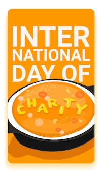 International charity day social media story template with hot tasty soup and the word charity made up of noodles.