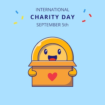 International charity day with cute coin holding box for donations cartoon characters illustration.