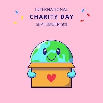 International charity day with cute earth holding box for donations cartoon characters illustration.