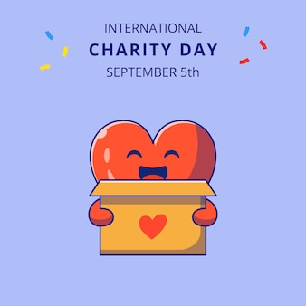 International charity day with cute heart holding box for donations cartoon characters illustration.